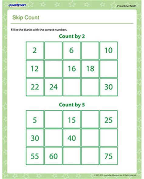 Skip Count  Free Skip Counting Worksheet For Preschool Jumpstart