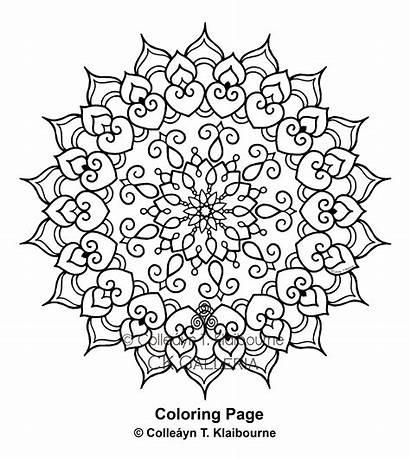Mandala Coloring Pdf Pages Digital Delicate Watermark