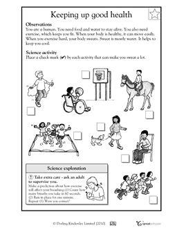 keeping up good health worksheets activities