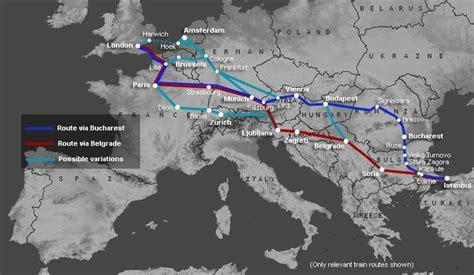 map showing train routes  london paris  istanbul
