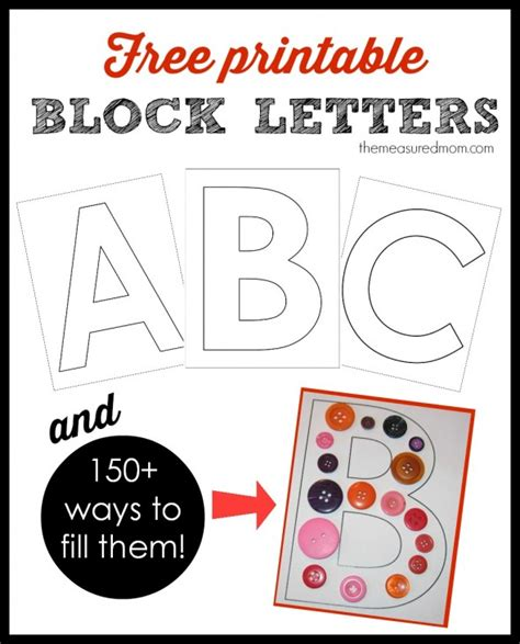 printable block letters and 150 ways to fill them the measured