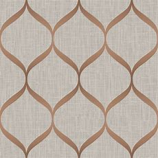 Pear Tree Geometric Trellis Rose Gold Metallic Wallpaper