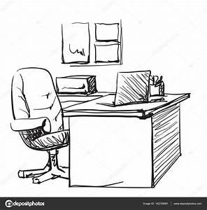Computer Arbeitsplatz Möbel : schreibtisch gezeichnet ~ Indierocktalk.com Haus und Dekorationen