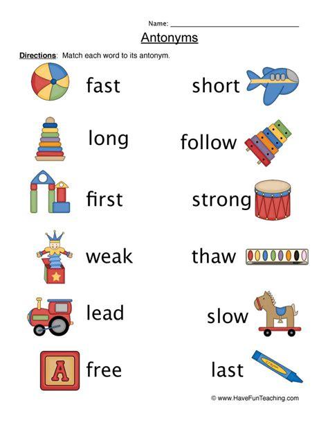 antonym worksheets teaching