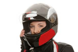 Woman Wearing Motorcycle Helmet