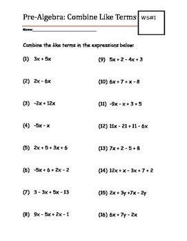 pre algebra practice worksheet combine  terms tpt