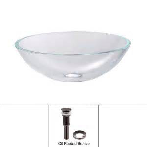 Home Depot Vessel Sink Mounting Ring by Kraus Glass Vessel Sink In Clear With Pop Up Drain
