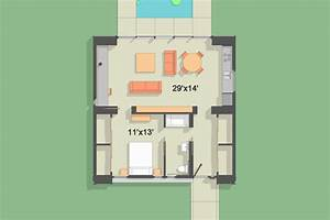 modern style house plan 1 beds 1 baths 900 sq ft plan 918 1 With contemporary one bedroom cottage designs