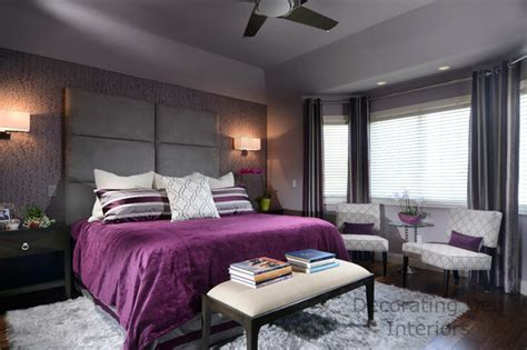 purple  gray contemporary master bedroom contemporary