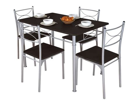 table et chaises conforama ensemble table 4 chaises sernan coloris gris wengé