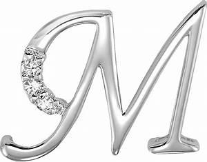 14k White Gold 3/8 Inch 0.06ct Diamond Initial M Pendant ...