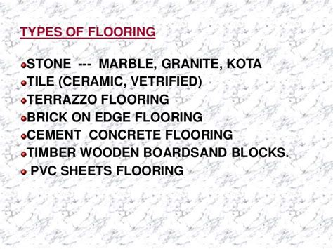 Types Of Floor Covering Ppt by Floor Finishes And Coverings