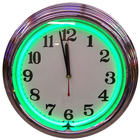lighted clocks for sale chrome green standard neon clock for sale buy it here