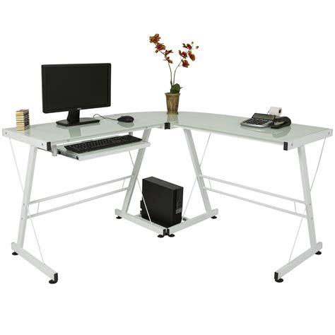 l shape computer desk pc glass laptop table workstation