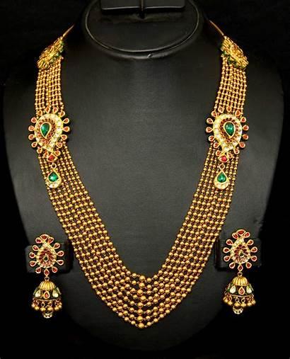 Gold Haram Necklace Kundan Designs Jewellery Indian