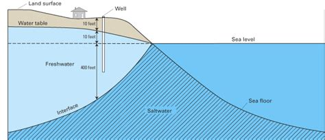 how deep is the water table where i live ground water in freshwater saltwater environments of the