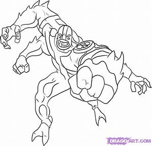 How to Draw Ben 10 Aliens Four Arms, Step by Step, Ben 10 ...