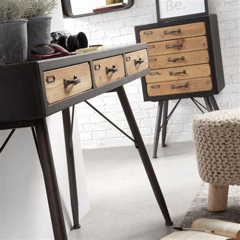 console en bois console industrielle en bois et m 233 tal 3 tiroirs refe par drawer fr