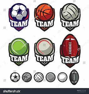Template Logos For Sports Teams With Different Balls Stock ...