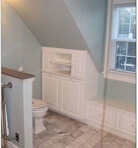 Attic bathrooms with sloped ceilings sloped ceiling for Small attic bathroom sloped ceiling