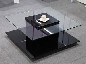 Table Basse Carrée En Verre : table basse carr e l na avec 2 plateaux en verre noir laqu 68044 ~ Teatrodelosmanantiales.com Idées de Décoration