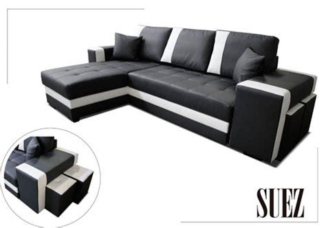 h et h canapé canape d 39 angle à gauche convertible suez noir blanc