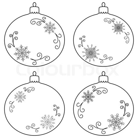 color christmas ball ornament template tree decoration set glass balls with snowflakes contours stock photo colourbox