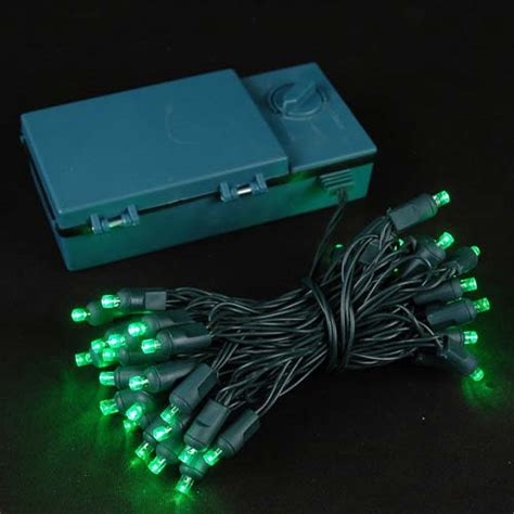 50 led battery operated christmas lights green on green