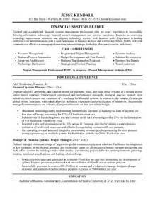 finance manager resume template free financial systems manager resume exle