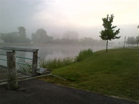 canton mi foggy morning  heritage park photo picture