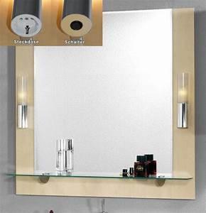 Spiegel Mit Steckdose : badezimmer spiegelelement mit beleuchtung in birke spiegel ~ Michelbontemps.com Haus und Dekorationen