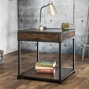 Furniture of america thorne antique oak industrial end for Homegoods industrial furniture