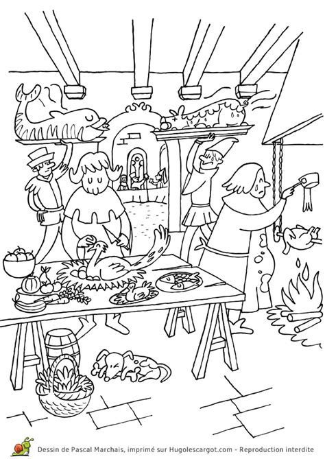 jeux de cuisine cooking coloriage moyen age les cuisines sur hugolescargot com