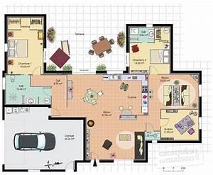Plan Maison 6 Chambres : plan maison 2 chambres plain pied ~ Voncanada.com Idées de Décoration