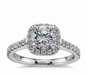 cushion halo diamond engagement ring in platinum 1 3 ct With cushion wedding rings