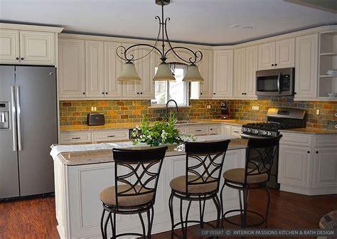 white kitchen cabinets beige countertop brown gray subway slate backsplash tile backsplash 1787