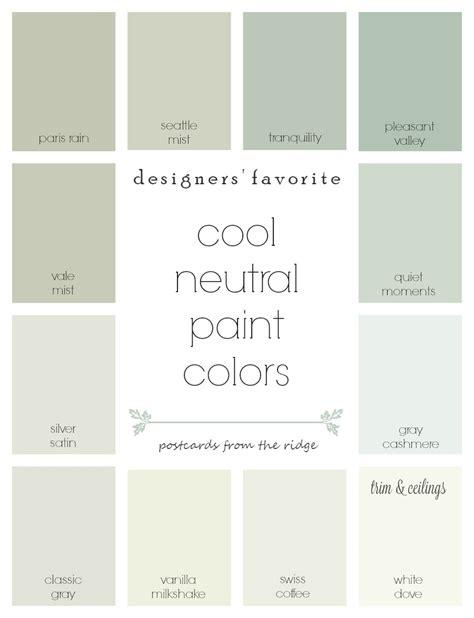 Designers' Favorite Cool Neutral Paint Colors Postcards