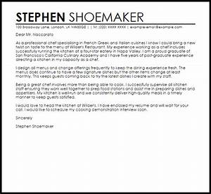 Chef Sample Cover Letter Cover Letter Templates Examples