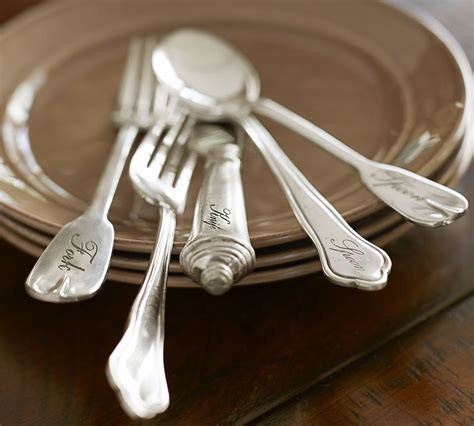 antique silver cutlery  piece place setting pottery barn