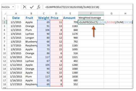 calculate weighted average  excel