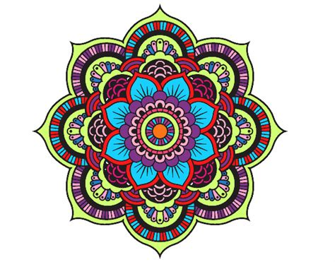 Colored Page Mandala Oriental Flower Painted By Nessab82