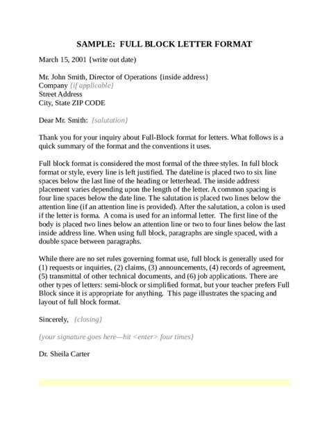 block letter format 2018 block letter format fillable printable pdf forms