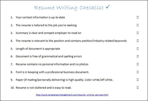 success coach resume writing checklist