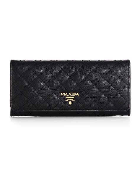 lyst prada quilted saffiano continental wallet  black