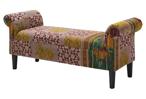 Kantha Rollarm Bench, Redcream, Bedroom From One Kings Lane