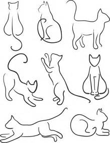 Cat Silhouette Line Drawing