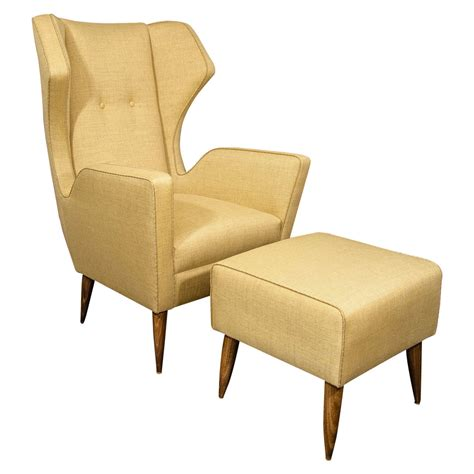 1 1 2 chair and ottoman custom gio ponti style chair and ottoman for sale at 1stdibs