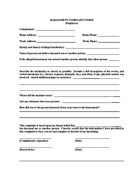 workplace harassment policy template 9 employee complaint forms free pdf doc format free premium templates