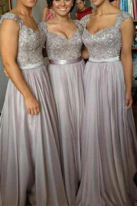 Lace Bridesmaid Dress #LaceBridesmaidDress, Silver Prom ...