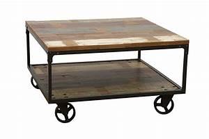 Table Sur Roulettes : table basse bois m tal sur roulettes 4983 ~ Teatrodelosmanantiales.com Idées de Décoration